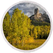 Chimney Rock San Juan Nf Colorado Img 9722 Round Beach Towel
