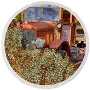China Ranch Truck Round Beach Towel by Jerry Fornarotto