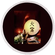 Chinese Food Against A Backgroup Of Flames Round Beach Towel