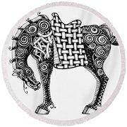 Chinese Horse - Zentangle Round Beach Towel