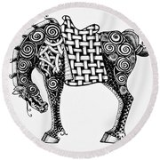 Chinese Horse - Zentangle Round Beach Towel