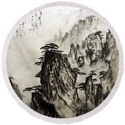 Round Beach Towel featuring the painting Chinese Mountains With Poem In Ink Brush Calligraphy Of Love Poem by Peter v Quenter
