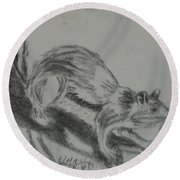 Chipmunk On The Prowl Round Beach Towel