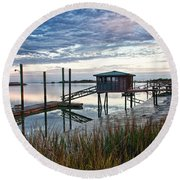 Chisolm Island Docks Round Beach Towel