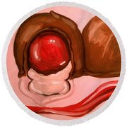 Round Beach Towel featuring the painting Chocolate Cherries by Marisela Mungia