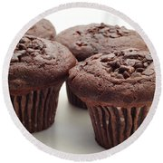 Chocolate Chocolate Chip Muffins - Bakery - Breakfast Round Beach Towel