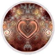 Chocolate Heart Round Beach Towel