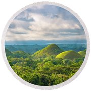 Chocolate Hills In Late Afternoon Round Beach Towel