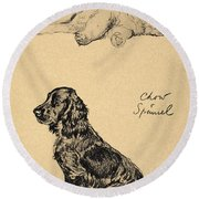 Chow And Spaniel, 1930, Illustrations Round Beach Towel