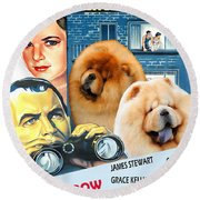 Chow Chow Art Canvas Print - Rear Window Movie Poster Round Beach Towel