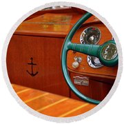 Chris Craft Cockpit Round Beach Towel