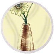 Chrysanthemum Flower Round Beach Towel by Teresa White