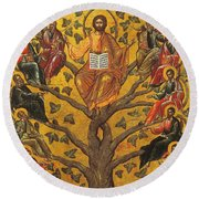 Christ And The Apostles Round Beach Towel