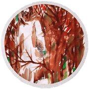 Christ In The Forest Round Beach Towel