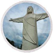 Christ Of The Ozarks Round Beach Towel