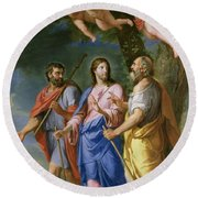 Christ On The Road To Emmaus Oil On Canvas Round Beach Towel
