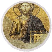Christ Pantocrator-detail Of Deesis Mosaic Hagia Sophia-judgement Day Round Beach Towel