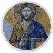 Christ Pantocrator -- Hagia Sophia Round Beach Towel