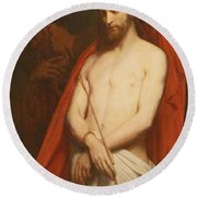 Christ With The Reed Oil On Canvas Round Beach Towel