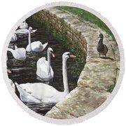 christchurch harbour swans with Mallard Duck conversation Round Beach Towel