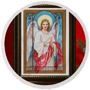 Round Beach Towel featuring the digital art Christmas Angel Art Prints Or Cards by Valerie Garner