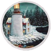 Christmas At The Light Round Beach Towel