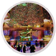 Round Beach Towel featuring the photograph Christmas At The Rock by Chris Lord