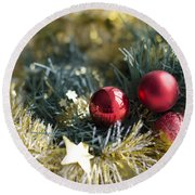 Round Beach Towel featuring the photograph Christmas Baubles by Jocelyn Friis