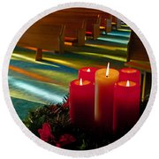 Christmas Candles At Church Art Prints Round Beach Towel by Valerie Garner