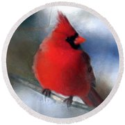 Christmas Card - Cardinal Round Beach Towel