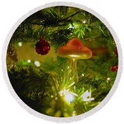 Round Beach Towel featuring the photograph Christmas Card by Cassandra Buckley