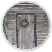 Christmas Card No.3 Rustic Cabin Round Beach Towel
