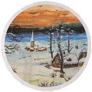 Round Beach Towel featuring the painting Christmas Card Painting by Peter v Quenter