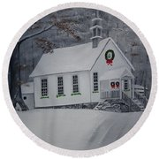 Christmas Card - Snow - Gates Chapel Round Beach Towel