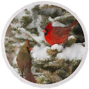 Christmas Card With Cardinals Round Beach Towel by Mircea Costina Photography