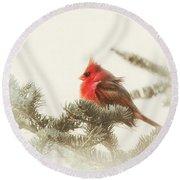 Christmas Cardinal Round Beach Towel