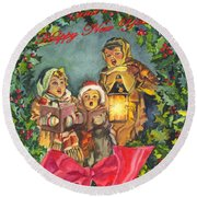 Christmas Carolers Merry Christmas And Happy New Years Round Beach Towel by Carol Wisniewski