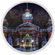 Christmas Courthouse Round Beach Towel