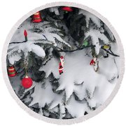 Christmas Decorations On Snowy Tree Round Beach Towel