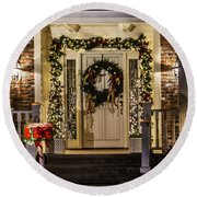 Round Beach Towel featuring the photograph Christmas Door 1 by Betty Denise