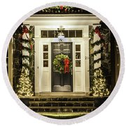 Round Beach Towel featuring the photograph Christmas Door 2 by Betty Denise