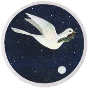 Christmas Dove Round Beach Towel