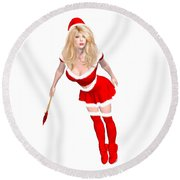Christmas Elf Elise Round Beach Towel by Renate Janssen