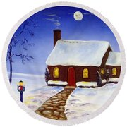 Round Beach Towel featuring the painting Christmas Eve by Lee Piper