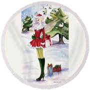 Round Beach Towel featuring the painting Christmas Fantasy  by Nadine Dennis
