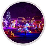 Christmas Fantasy Trees And Houses In Lights Round Beach Towel