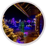 Christmas Fantasy Trees And Wooden House In Lights Round Beach Towel