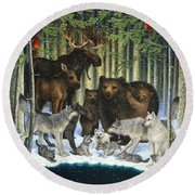 Christmas Gathering Round Beach Towel