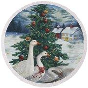 Christmas Geese Round Beach Towel