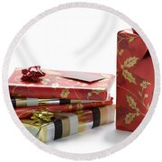 Round Beach Towel featuring the photograph Christmas Gifts by Lee Avison